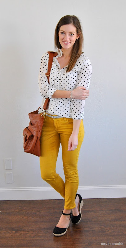yellow skinnies + polka dot blouse