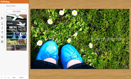 Tela de exemplo do editor de imagens on line Picmonkey [www.picmonkey.com]