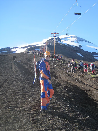 Following the chair lift up the lower part of Volcan Villarrica.