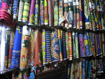 'Colorful Textiles in Kaneshi Market, Accra.' Photo by Angela Cheng