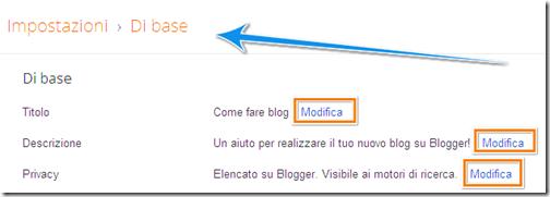 come cambiare titolo descrizione blog blogger