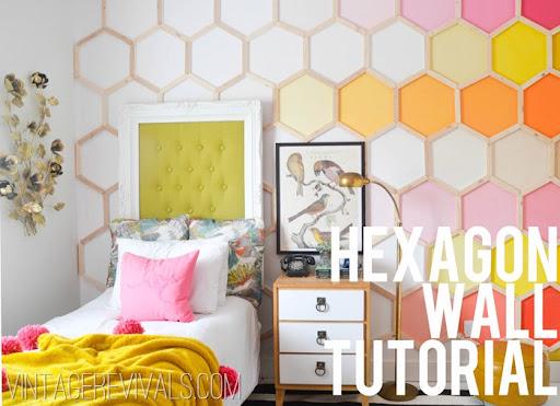 Popular Ombre Rainbow Hexagon Wall Tutorial