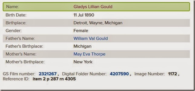 GOULD Gladys birth