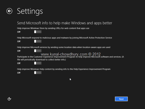 Win 8 Installation Experience - Settings - Make Windows Better