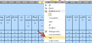 ซ่อนคอลัมภ์ในโปรแกรม Microsoft excel