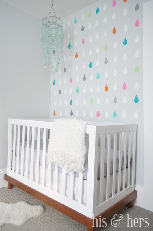 Easy raindrops accent wall--perfect for a nursery!