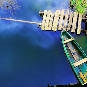 To the sky by FIWAT Photography - Landscapes Waterscapes ( reflection, pathway, waterscape, blue water, boat )