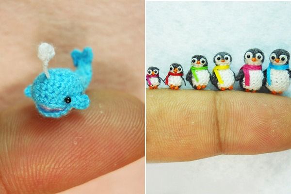 Miniaturas-Animais-Crochê-Baleia-Pinguim