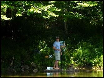 02d - paddling past  an artist