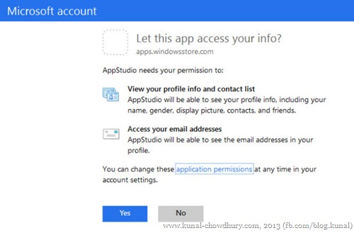 Provide Microsoft to access your profile