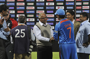 With Captain of Indian Cricket Team Mr. Mahendra Singh Dhoni on 27-02-2011 at Chinnaswamy Stadium, Bangalore
