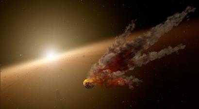 ilustração do rescaldo de grande impacto de asteroides em torno de estrela
