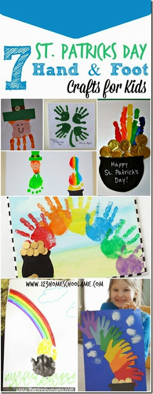 7 St. Patricks Day Hand and foot crafts for kids - so many really fun, creative and unique St Patrick's day art projects for toddler, preschool, kindergarten, first grade, 2nd grade and more in march