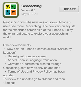 Geocaching version 6.0 ios