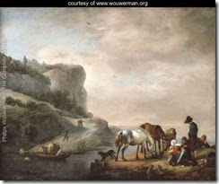 A-river-landscape-with-peasants-and-horses-on-the-shore-and-a-ferry-crossing