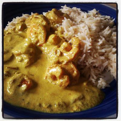 riso basmati con gamberi in salsa di yogurth e curry