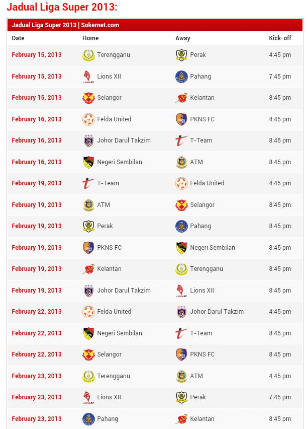 Jadual Liga Super 2013