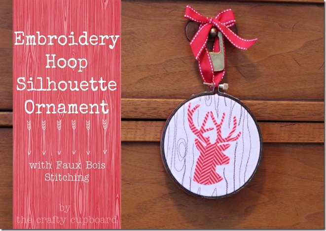 Embroidery Hoop Ornament with Faux Bois stitching