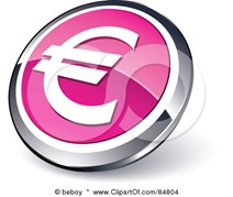 84804-Royalty-Free-RF-Clipart-Illustration-Of-A-Shiny-Pink-Euro-App-Button-With-A-Chrome-Rim