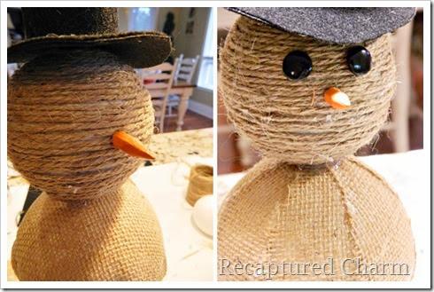 burlap & twine snowmen36-tile