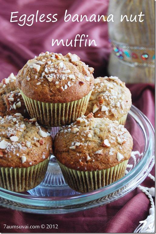 Eggless banana nut muffin