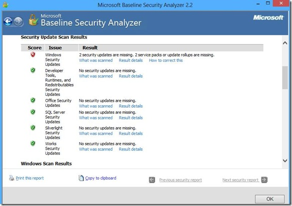 Microsoft Baseline Security Analyzer risultato scansione