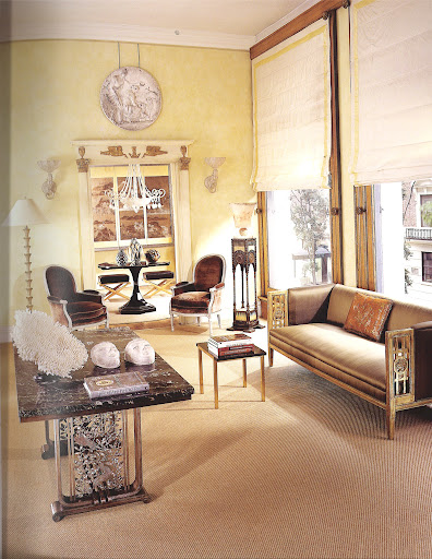 Dealer Bernd Goeckler seamlessly mixes period Empire and Neoclassical-inspired pieces of the Art Deco period in this sitting room. The settee is by Paul Follot, one of the earliest furniture designers to rework the eighteenth-century le gout grec into the the Art Decor style. (Regency Redux, Rizzoli)