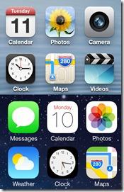 Rozdíl mezi ikonami iPhonů mezi verzí 6 a verzí 7 představenou v roce 2013.