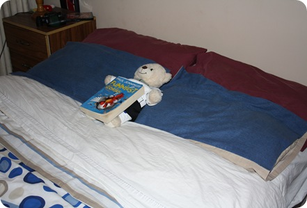 Lachi makes his bed