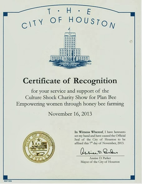 City of Houston Certificate to Students