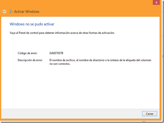 error windows 8 activacion