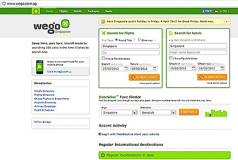 WEGO.COM TRAVEL SITES FOR CHEAP FLIGHTS HOTELS DEALS PACKAGES ACCOMODATION  DateWise Fare Finder  Hotels Popular Search, Destination, Flight shedule