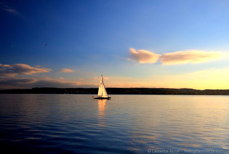 Sunset sailboat lake Constance