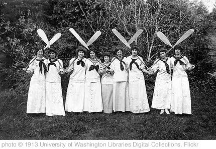 'Women with canoe paddles dressed for the chorus of the musical production of Princess Bonnie, University of Washington' photo (c) 1913, University of Washington Libraries Digital Collections - license: http://www.flickr.com/commons/usage/