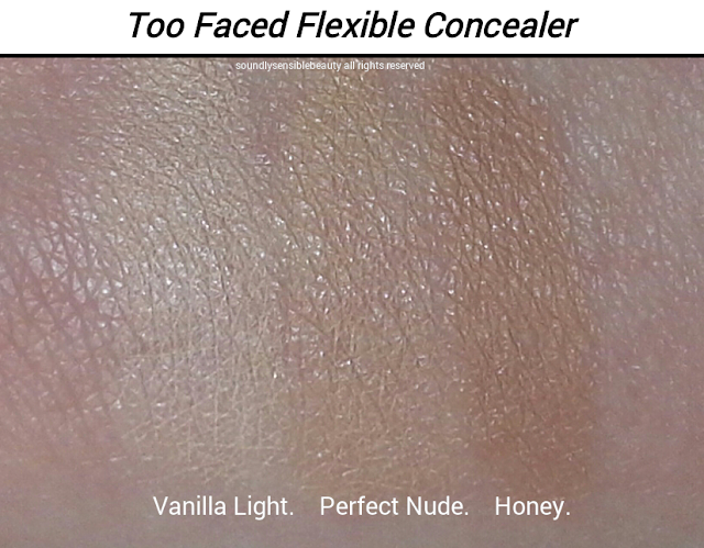 Too Faced Absolutely Flawless Concealer Review & Swatches of Shades  Vanilla Light, Perfect Nude, Honey