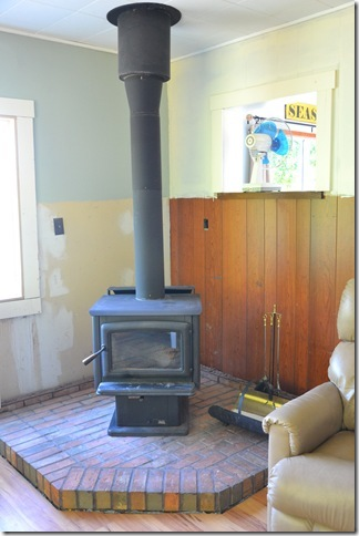woodstove after bricks came down