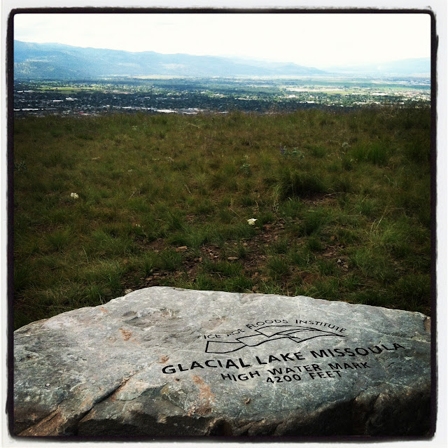 Glacial Lake Missoula high water mark overlooking the city of Missoula on Mount Sentinel