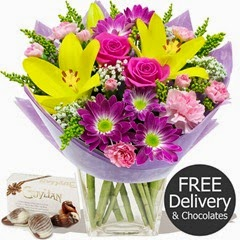 FREE DELIVERY Mothers Day Flowers - Thanks Mum & Chocolates (Mothers Day Range)