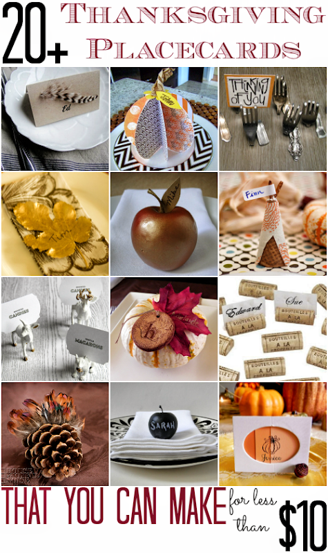 20 Thanksgiving Placecards that you can make for less than $10