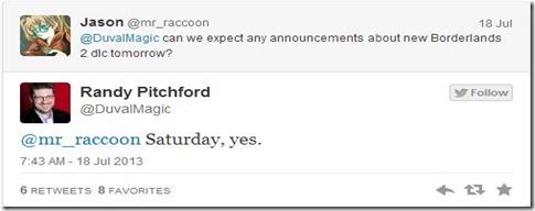 Borderlands 2 DLC tweet from Randy Pitchford