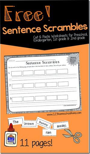 math worksheet : free! sentence scrambles : Free Printable Kindergarten Cut And Paste Worksheets
