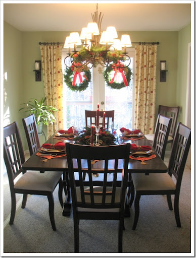 The Dining Room Got Its Traditional Christmas Treatment With Swirly Gold  And Red Placemats And Runner. Each Place Is Set With Red Metallic Chargers  And ...