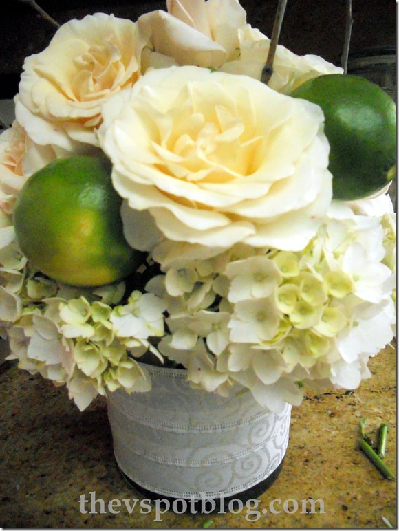 limes, roses, fruit, centerpiece,floral, flower arrangement