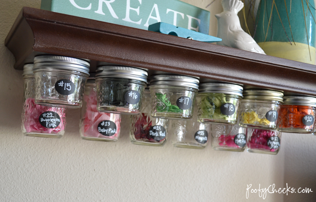 Mason Jar Storage Shelf Tutorial by Poofy Cheeks
