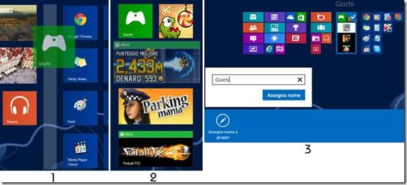 Windows 8 creare gruppo di piastrelle/applicazioni e assegnargli un nome