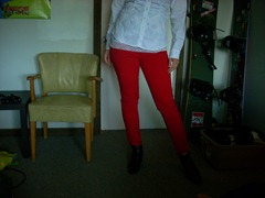 guess jeans brittney lace white button up coloured pants ankle skinny