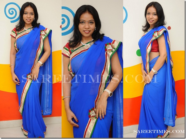 MM Srilekha_Blue_Designer_Saree