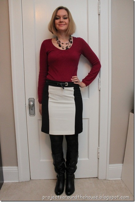 pink sweater, color block black and white skirt