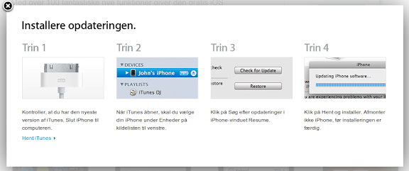 iPhone iOS 4 softwareopdatering vejledning