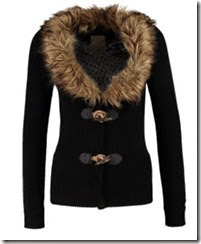 Khujo Black Faux Fur Collar Cardigan
